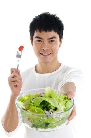 Health Asian holding  salad Stock Photo