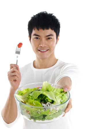 Health Asian holding  salad Stock Photo