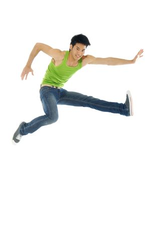 1 Asian man jumping up in the air