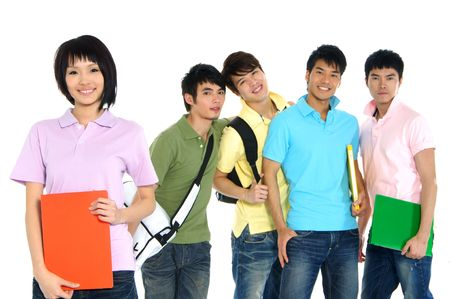 university life: 5 Asian happy university students over a white background-focus on girl in pink