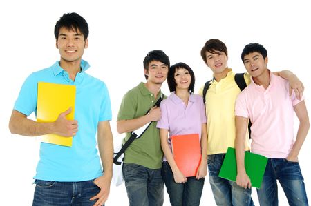 students fun: 5 Asian happy university students over a white background-focus on girl in pink