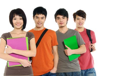 male student: 4 Asian casual groups of college students smiling on a white back ground