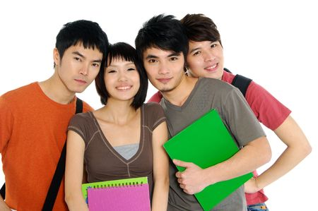 4 Asian casual groups of college students smiling on a white back ground Stock Photo - 2937802