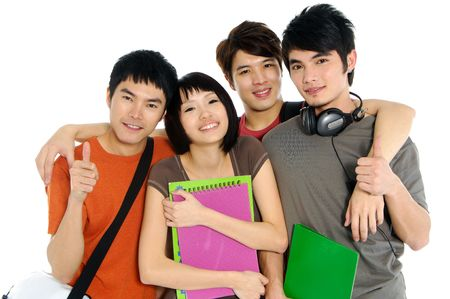 students fun: 4 Asian casual groups of college students smiling on a white back ground
