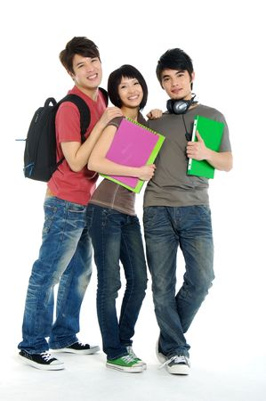 3 Three Asian casual young students on a white background Foto de archivo