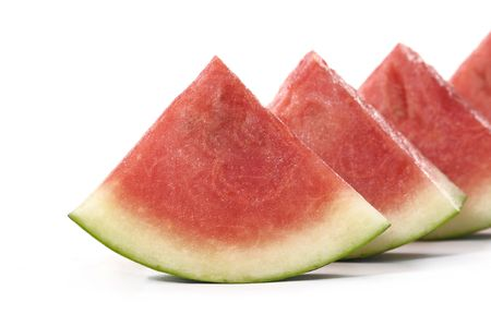 row of slice fresh watermelon photo