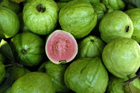 produce sections: guava fruit background