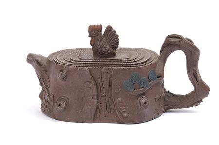 maccha: Isolated clay teapot Stock Photo