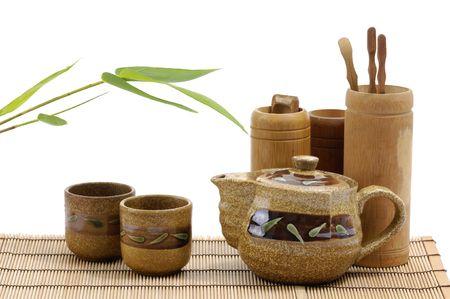 teaset: Pottery tea service