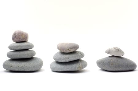 row of Stack of smooth pebbles photo
