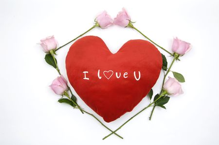 Hearts with rose to the Valentine's day Stock Photo - 5007848