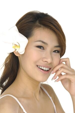 Beautiful Asian woman and orchid photo