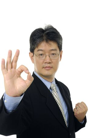 happy businessman gesturing ok photo