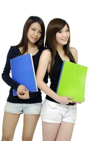 beautiful female students over white photo