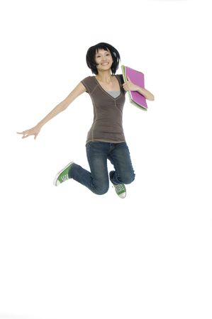 woman handle success: college student jumping of success isolated