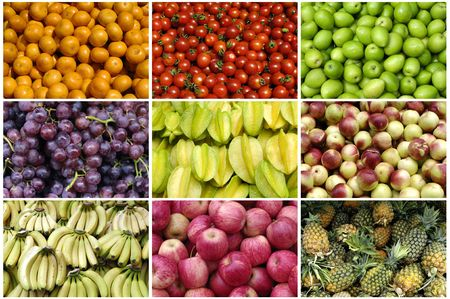 Colorful healthy fruit collage background Stock Photo - 5939274
