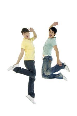 미친 점프 소년들. 흰색 배경 위에 절연