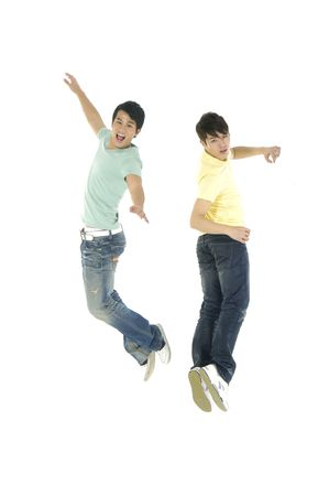 Crazy jumping boys. Isolated over white background
