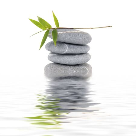 Reflection for zen stack stones and bamboo leaf