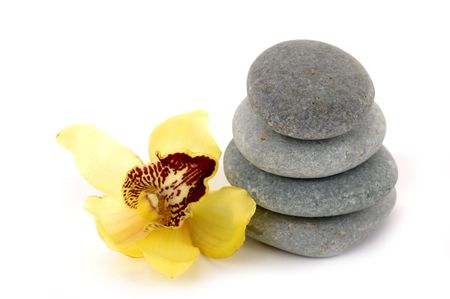 zen stone with orchid photo