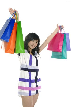 Beautiful woman with her bags happy shopping Stock Photo - 6057938