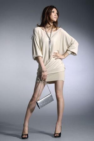 Fashion photo- Beautiful woman with a bag.