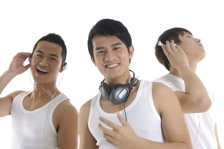 Asian three young man feeling the music Stock Photo - 6284643