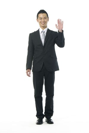 sloping: Image sloping of a man who greets with the hand Stock Photo