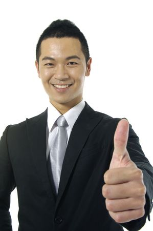 businessman going thumb up, Stock Photo
