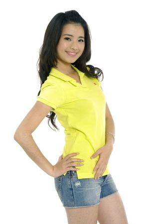 若いアジアの女性の笑みを浮かべて 写真素材