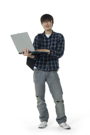 only one teenage boy: Laptop asian man Stock Photo