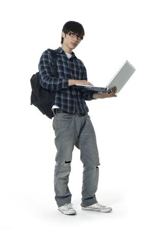Laptop asian man Stock Photo - 10979435