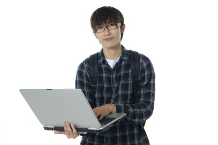 internet class: Student boy with laptop on white
