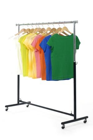 colored Tee Shirts display Stock Photo