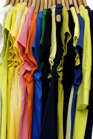 t-shirt on hangers background photo