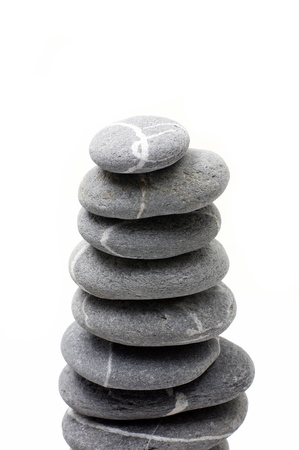 Stacked of balanced on white background photo
