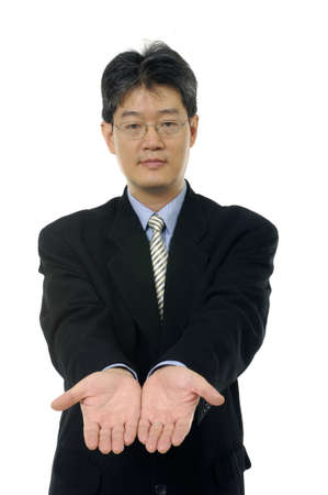 Asian businessman showing hand gesture photo