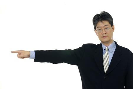 business man in a suit pointing with his finger photo