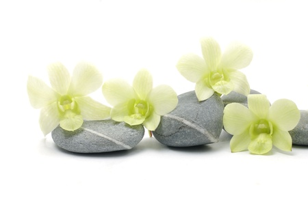Spa essentials pyramid of stones with orchid photo