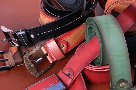 Leather belts Banco de Imagens