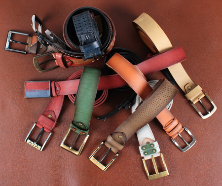 women s fashion: Leather belts Stock Photo