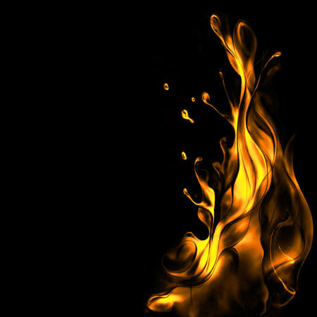 fragments: languages of krasno-oranzhevogo flame on a black background Stock Photo