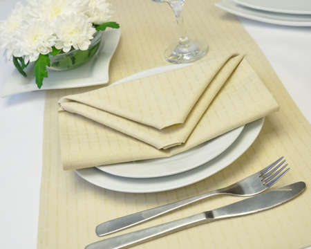 Coordinated decorative napkin on a plate with cutlery Stock Photo - 8540202