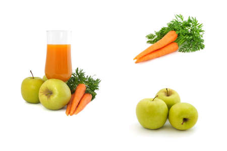 collage Carrot juice with apples and carrots on a white background photo
