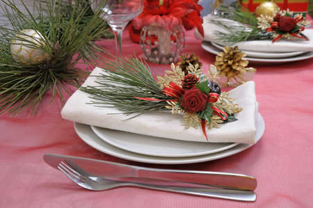 ball lump: Fragment table setting for Christmas and New Year Stock Photo