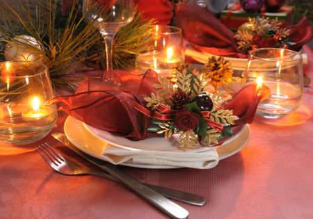 christmas atmosphere: Fragment table setting for Christmas and New Year Stock Photo