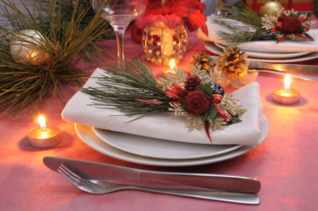 ball lump:  Napkin decorated for the Christmas and New Years table Stock Photo