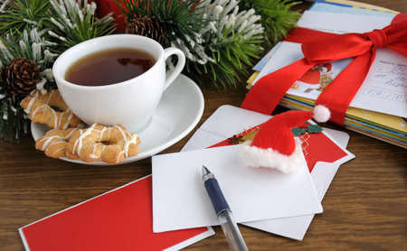 business christmas: Write greeting or invite your friends and family on holiday Stock Photo
