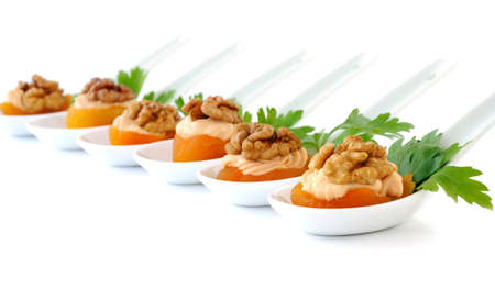 Apricot Stuffed creamy apricot stuffing with nuts isolated Standard-Bild