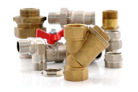 Diverse metalen onderdelen voor sanitair en sanitair Stockfoto